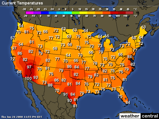 Color and Temperature Perception is everything – Weather Channel Travel Map
