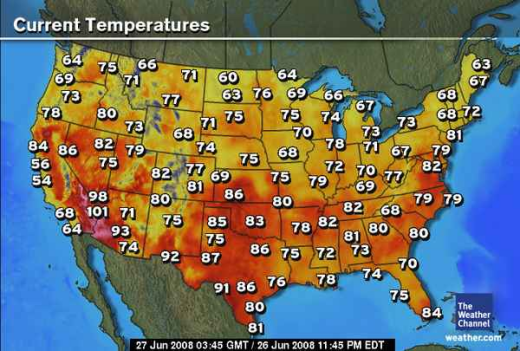 Us Weather Map Temperatures Current