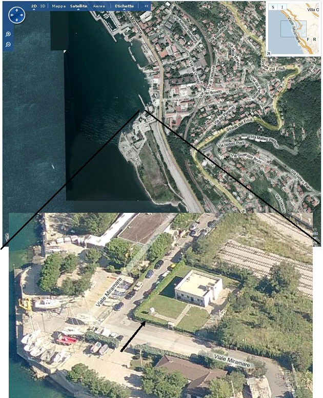 a close view (from Microsoft) to the area in which the station of Trieste is located.