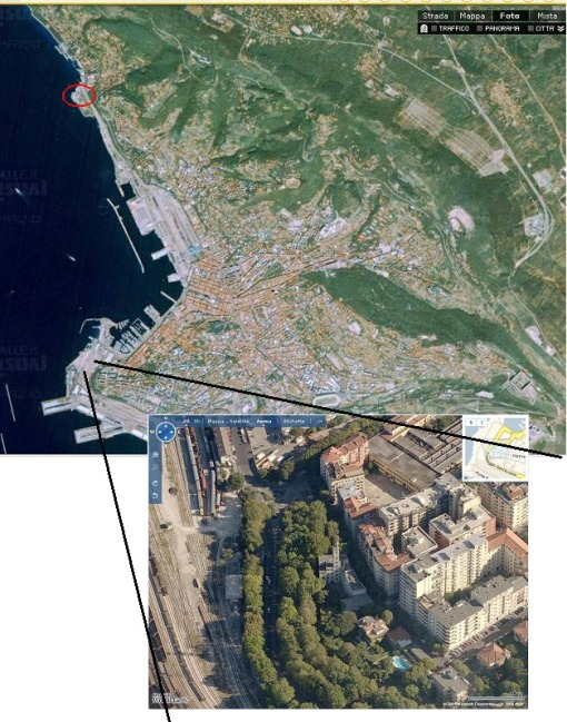 a close view (from Microsoft) to the area in which the old station of Trieste was located (bottom); the red oval in Pagine Gialle map (top) places the current site.