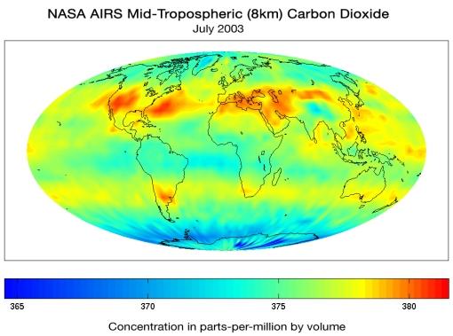 Carte d ela répartition du CO2 atmosphérique sur terre