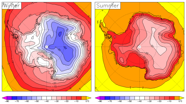 Antarctic surface temperature from ECMWF (era40) reanalyses, 1979-2001.