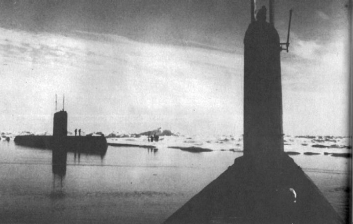 Seadragon (SSN-584), foreground, and her sister Skate (SSN-578) during a rendezvous at the North Pole in August 1962