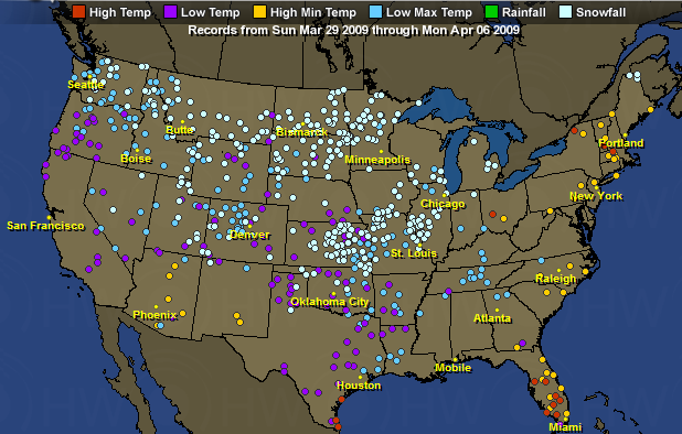 Alltime Snow Records Tumbling Again For The Second Straight Year - Us snowfall map 2009