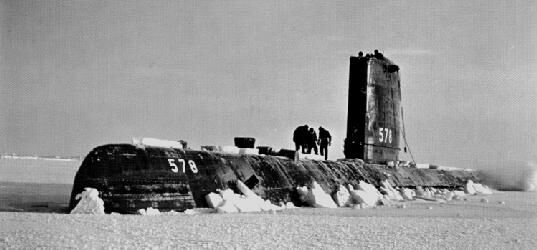 USS Skate during an Arctic surfacing in 1959. (US Navy Photo)