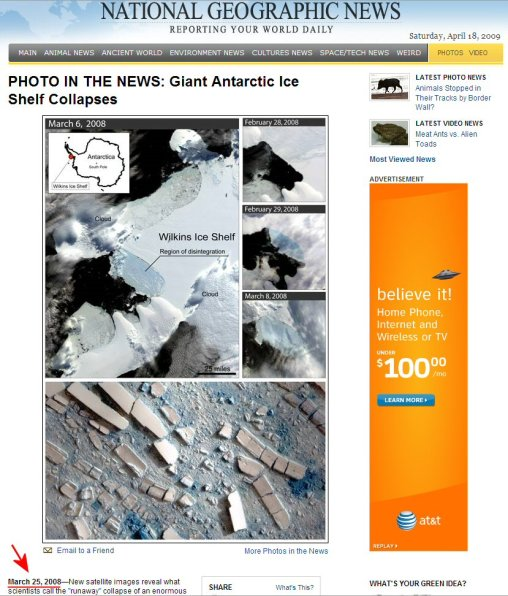The Antarctic Wilkins Ice Shelf Collapse: Media recycles photos and storylines from previous years