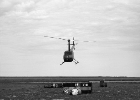 FIG. 1. Field research by aircraft, especially helicopters, produces a very large carbon footprint. This Robinson 44 uses half the fuel of the similar-sized Bell 206 Jet Ranger.