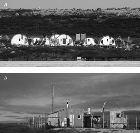 FIG. 2. Remote Arctic field camps at a) Daring Lake in the Northwest Territories and b) Nester One on the Hudson Bay coast of Manitoba have decreased their carbon footprint by using solar and wind power.