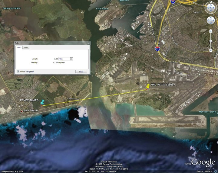 Aerial view of the PTWC and PHNL stations - 3.9 miles apart - click for larger image