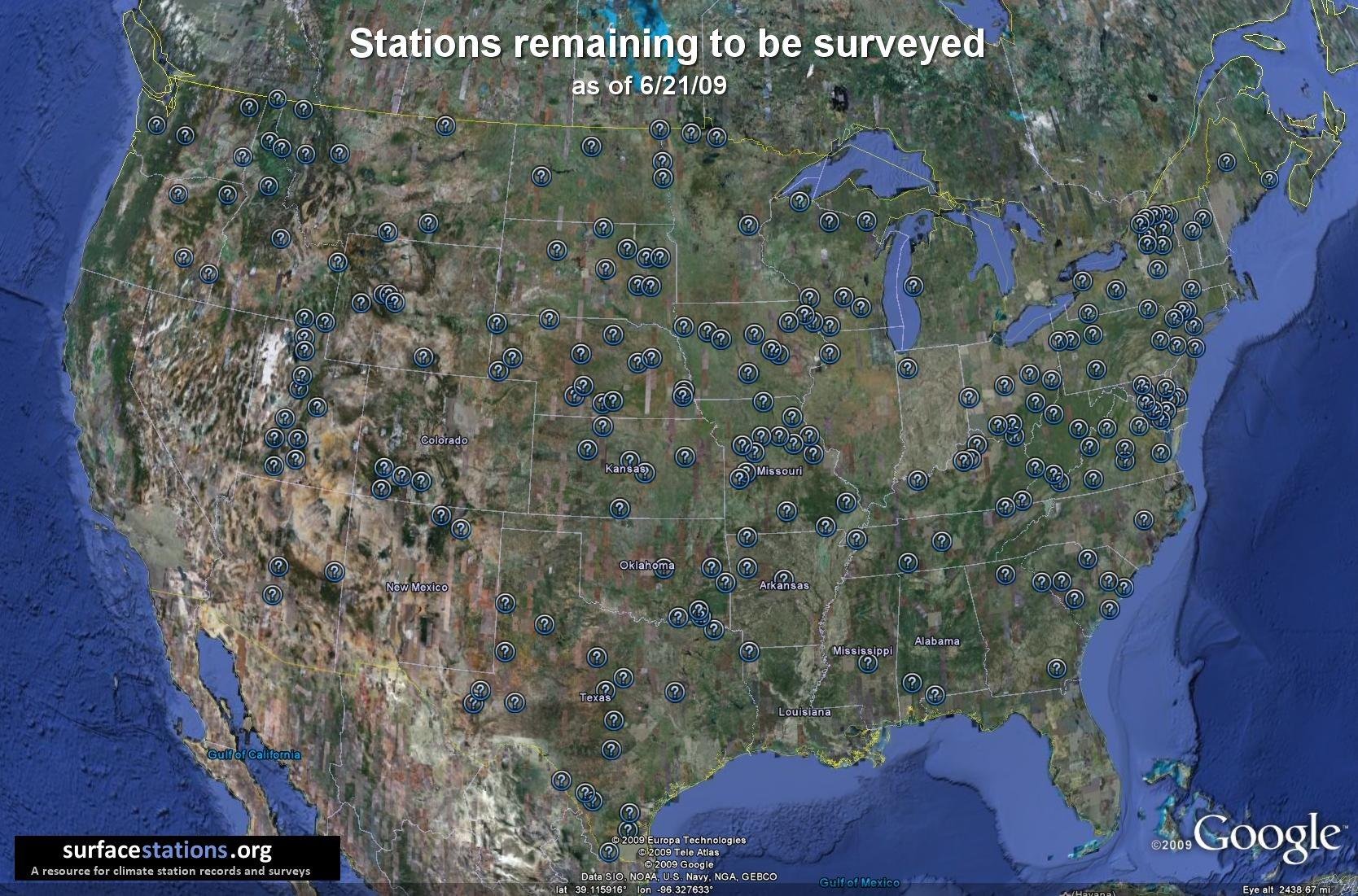 USHCN Surface Stations remaining to be surveyed - click for larger image