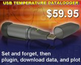 USB Temperature Datalogger - small, compact, inexpensive, easy to use. Many models available.