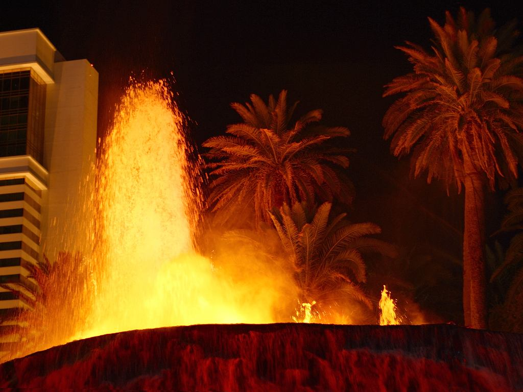 A familiar man-made volcano - The Mirage in Vegas - Image courtesy PDphoto.org