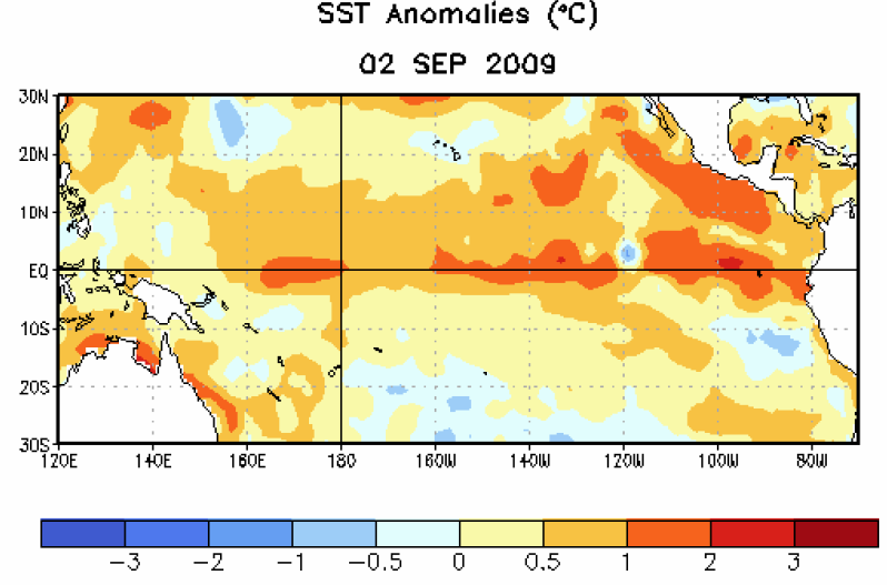 Figure 1. Average weekly sea surface temperature (SST) anomalies (°C) centered on 2 September 2009. Anomalies are computed with respect to the 1971-2000 base period weekly means (Xue et al. 2003, J. Climate, 16, 1601-1612).