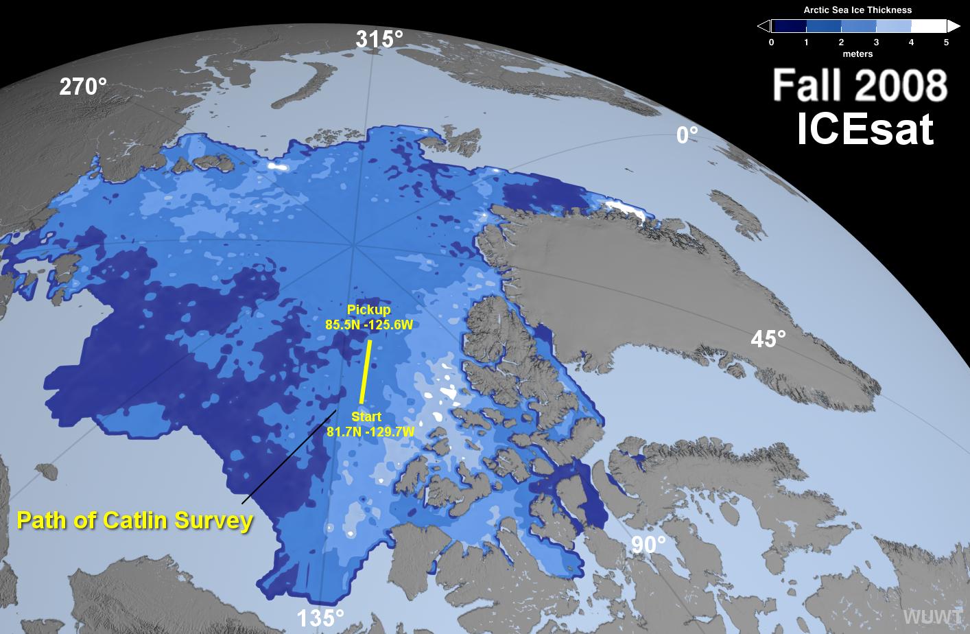 Catlin Arctic Survey Path over ICEsat map