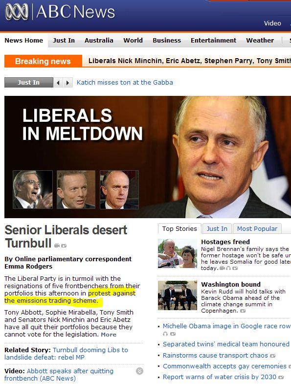 Ripples of Climategate? Liberal MP's desert Turnbull in