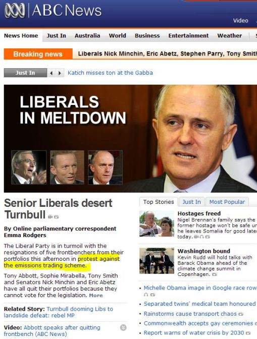 Ripples of Climategate? Liberal MP's desert Turnbull in Australia over emissions trading scheme
