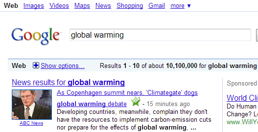 """Climategate"" surpasses ""Global Warming"" on Google"