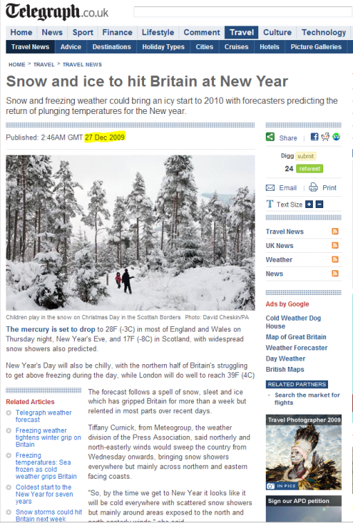 "CRU's forecast: UK winter snowfall will become ""a very rare and exciting event"""