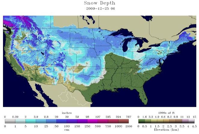 Nearly Two Thirds Of The Continental USA Gets A White Christmas - Us map snow cover