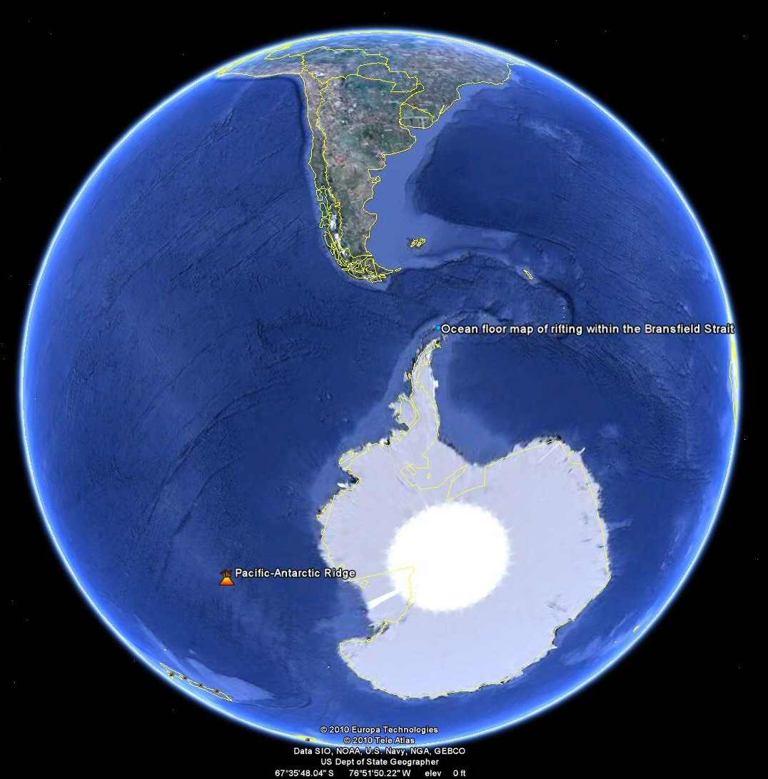 Examples are found at  Pacific Antarctic Ridge