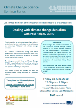 "Australia's Victorian government creates seminar to ""deal with denialism"""