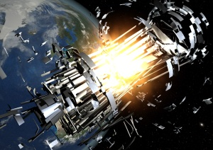 ESA artist impression of an upperstage rocket explosion