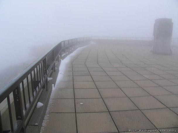 July snow on Mount Washington Observatory, New Hampshire