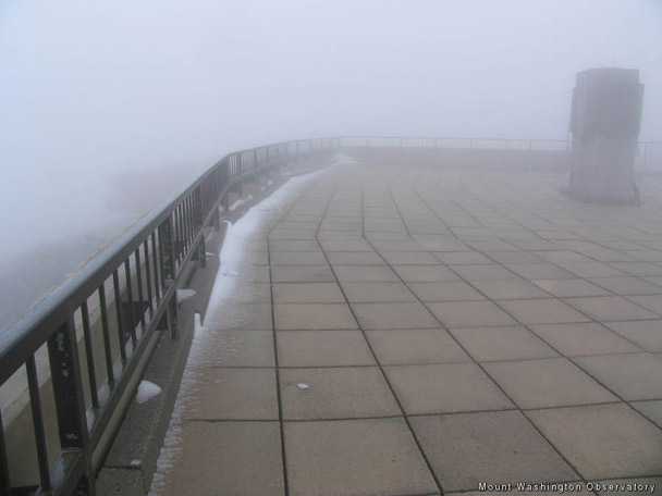 July snow on Mount Washington Observatory, New Hampshire