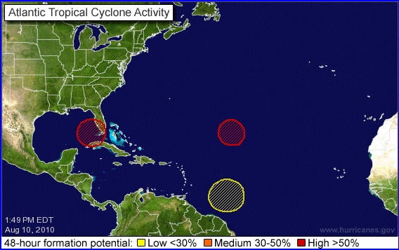 NHC Tropical Storm Potential August 10th, 2010