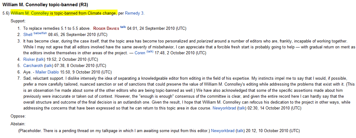 william connolley  now  u0026quot climate topic banned u0026quot  at wikipedia
