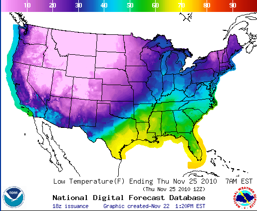 Thanksgiving low temps