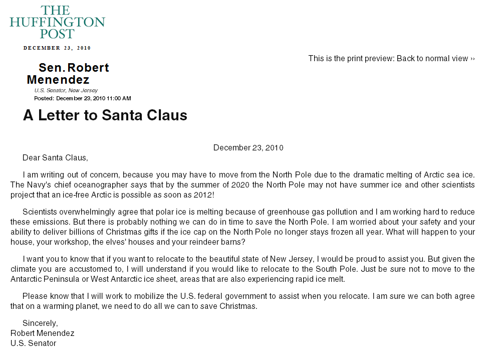 A reply to Senator Menendez from Santa | Watts Up With That?