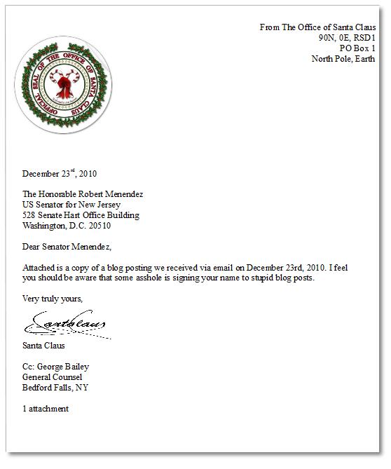 A Reply To Senator Menendez From Santa