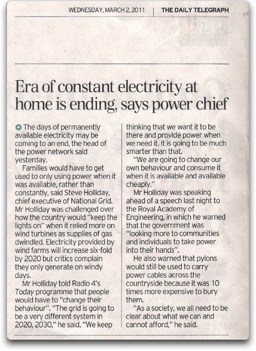 Flashback 2011: 'Era of Constant Electricity at Home is Ending, says UK power chief' — 'Families would have to get used to only using power when it was available'