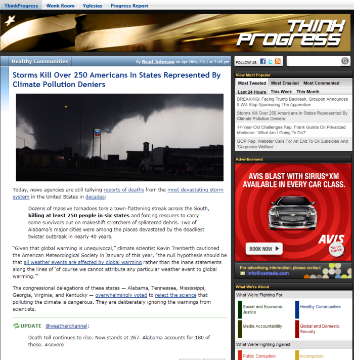 ThinkProgress discussion of the tornado outbreak