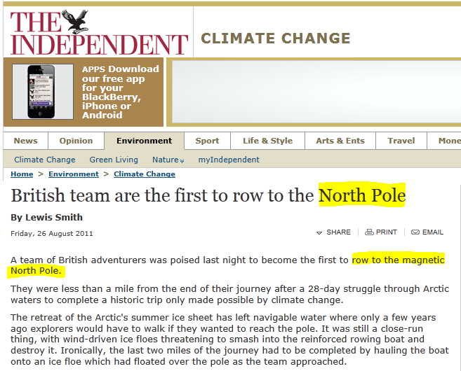 Telegraph bbc and independent geography fail row to the pole advertisements sciox Image collections
