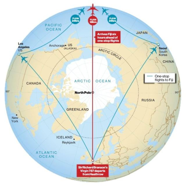 Great Circle Route over the pole cleared for Branson\'s Virgin Air ...