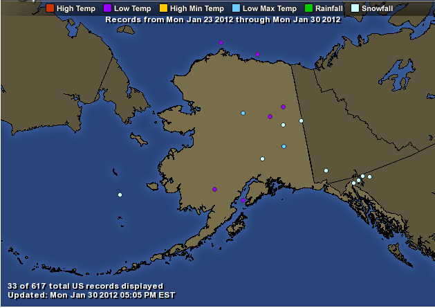 Bitter cold records broken in Alaska – all time coldest
