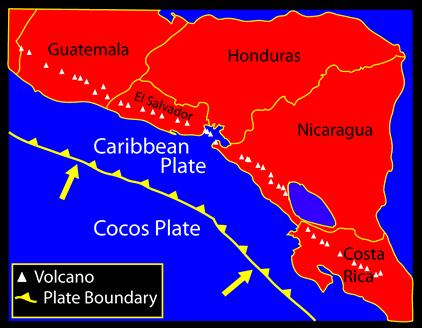 Activité tectonique entre les plaques cocos et caraibe