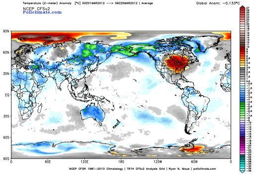 Temperature Anomaly March 2012