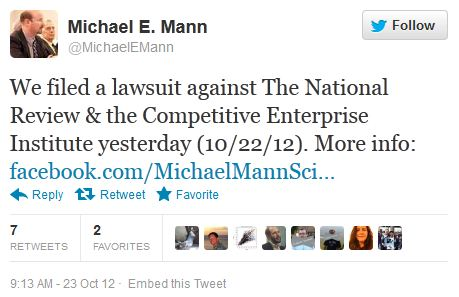 Mann has filed suit against NRO (now the laughing begins