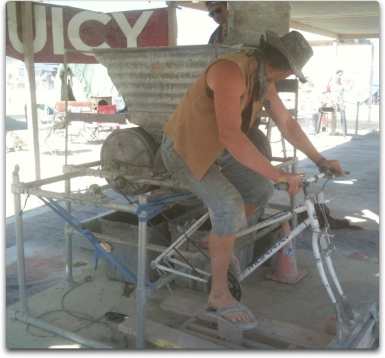 bicycle powered can crusher