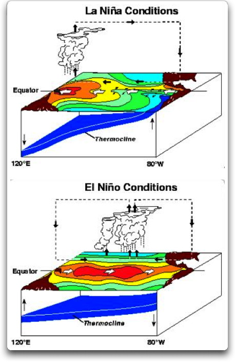la nina and el nino conditions