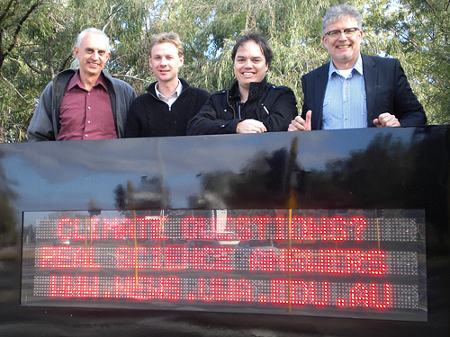 Left to Right: Kevin Judd (Professor, School of Mathematics and Statistics), Matt Hipsey (Assistant Professor, School of Earth and Environment), John Cook (blogger, Skeptical Science), Stephan Lewandowsky (Professor, School of Psychology)