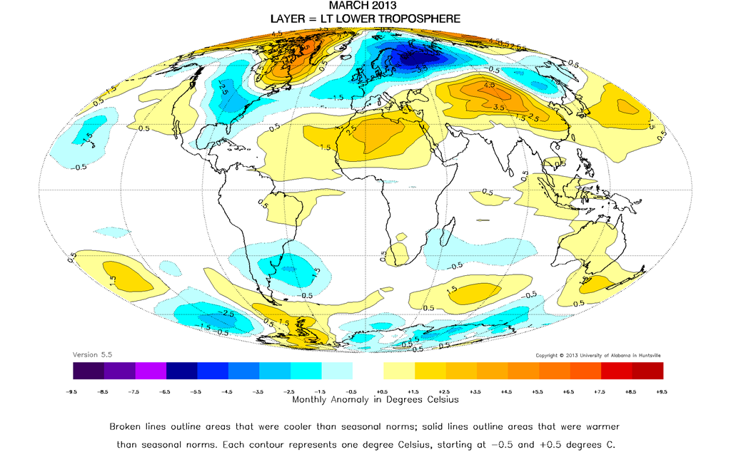 Uah global temperature report march 2013 temperature unchanged northern hemisphere 033 c about 059 degrees fahrenheit above 30 year average for march southern hemisphere 004 c about 007 degrees fahrenheit gumiabroncs Gallery