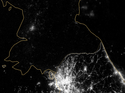 Map of Korea Night Lights NASA - Pics about space