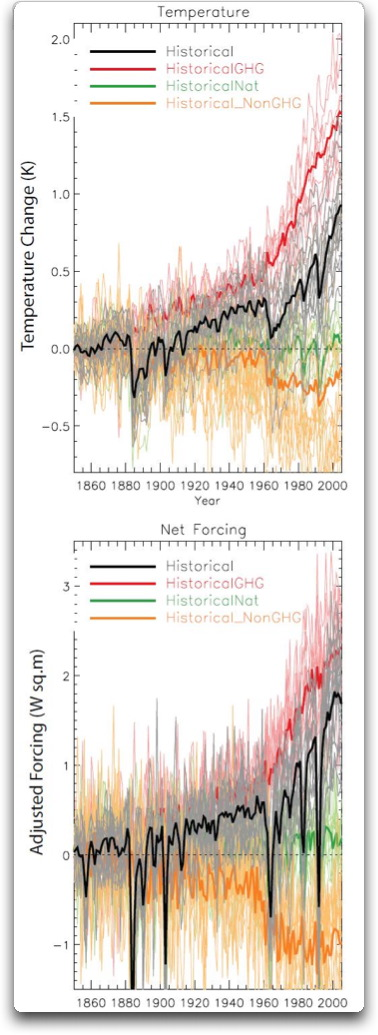 cmip5 model temperature and forcing change