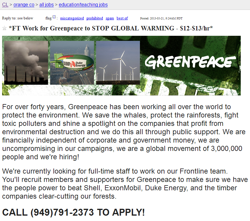 Stop global warming, get paid $12-13 per hour | Watts Up