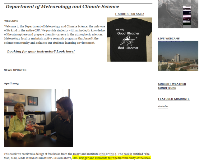 San Jose State University Meteorology decides burning books