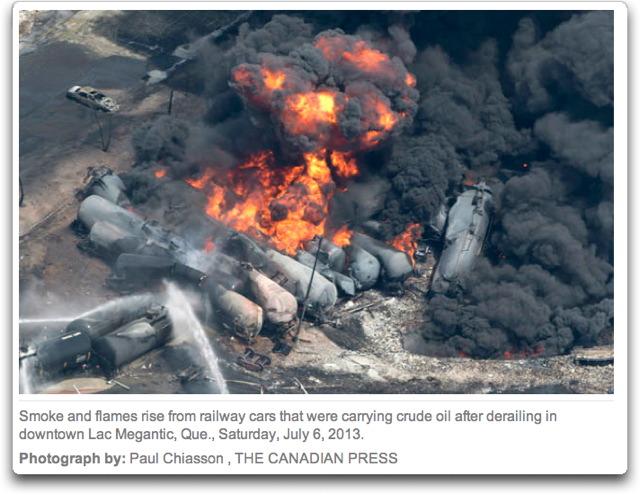 railroad tank car explosion canada